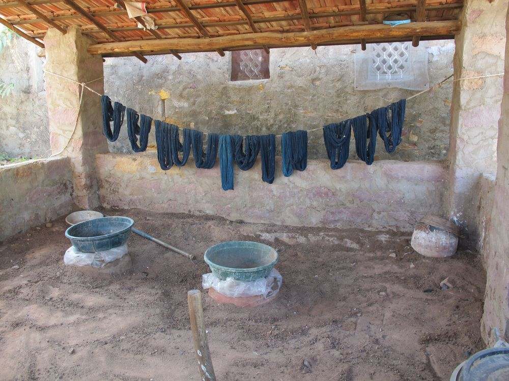 Indigo dyed wool drying at Shamji's workshop