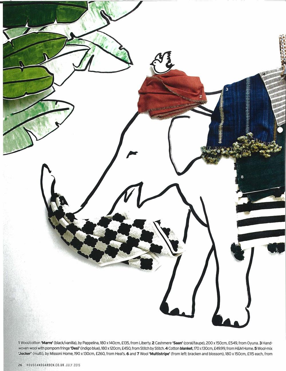 House and Garden, July 2015: Desi Pom Pom indigo blanket (no.3)