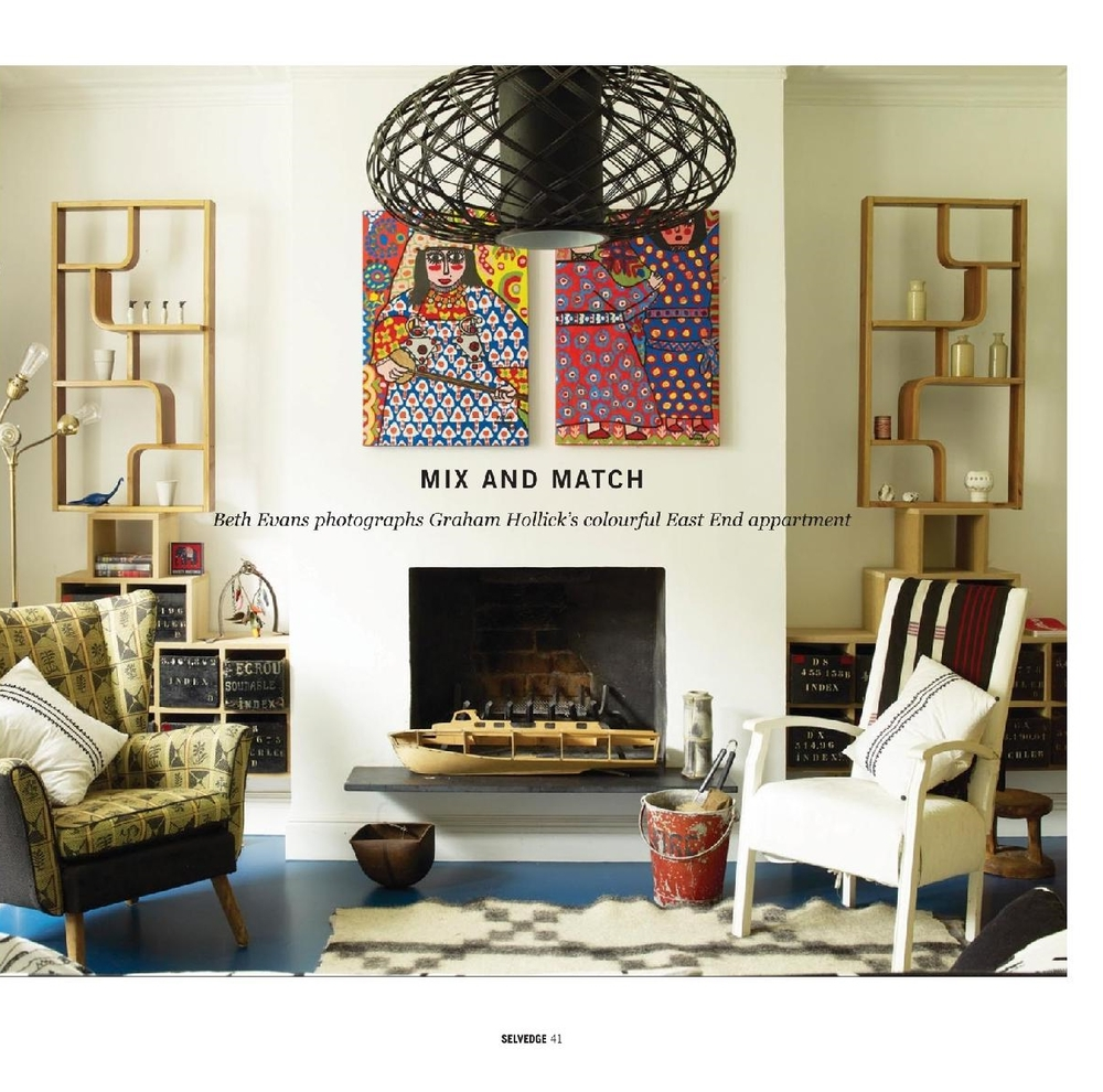 """Selvedge Magazine, Pop issue, July 2015: """"Mix and Match"""" feature onGraham's apartment. Seethe full article here."""