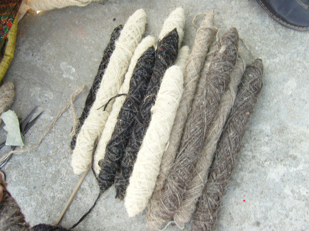 The wool is undyed, and remains its natural colour