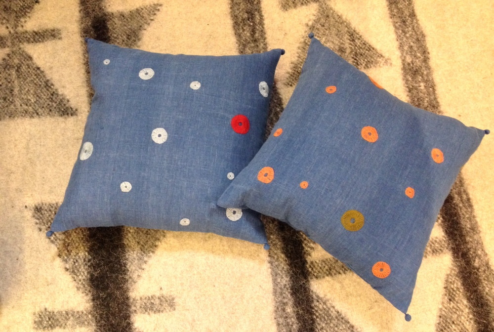 New Bindi embroidered cushions on hand woven indigo kala cotton
