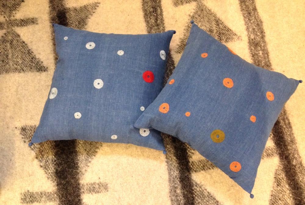 New Bindi embroidered cushions on hand woven indigo kala cotton