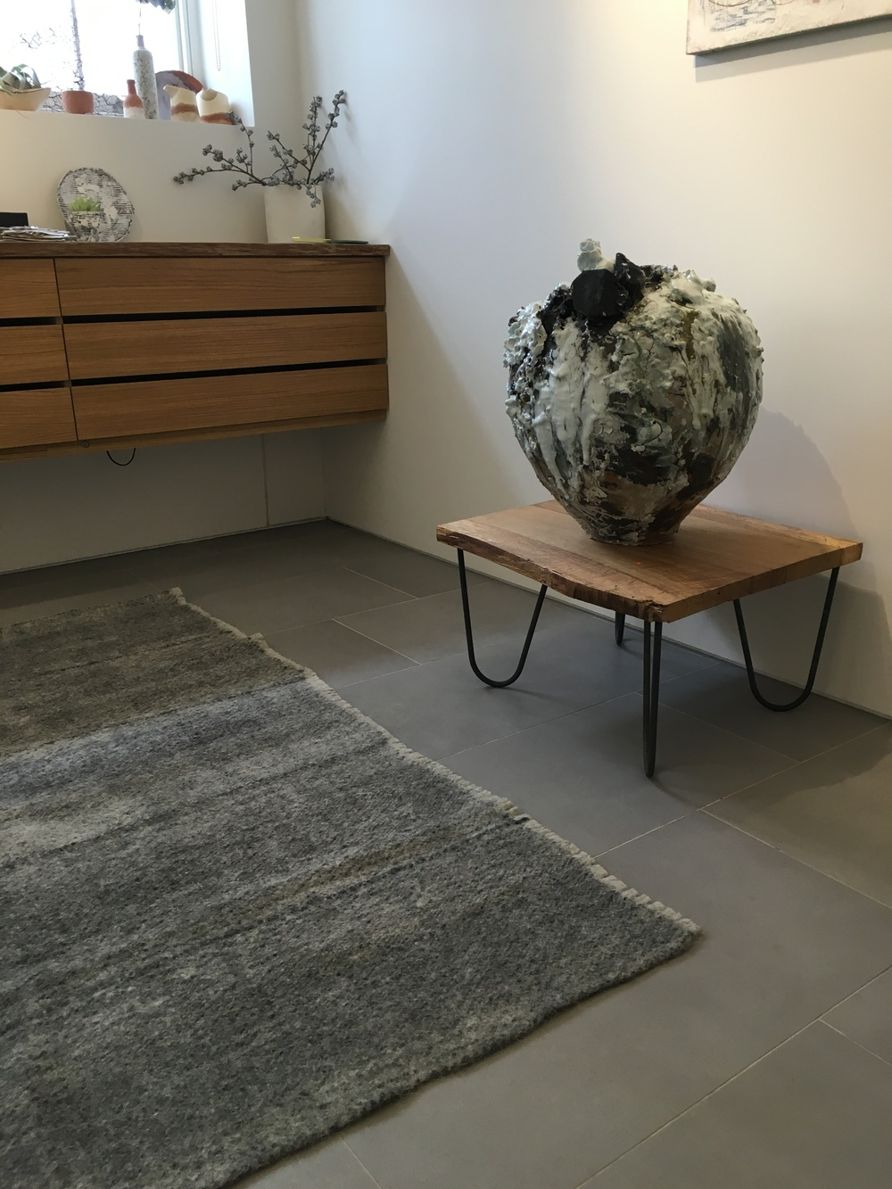 Akiko Hirai's Moon Jar, with radhi rug at Flow Gallery