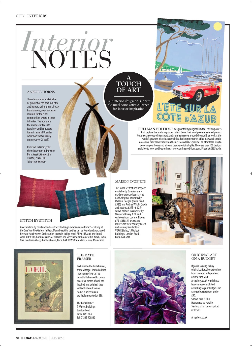The Bath Magazine, July 2016: Stitch by Stitch exhibition at One Two Five Gallery