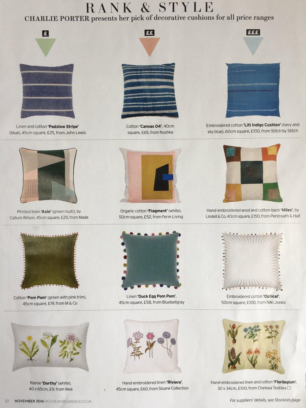 House & Garden, Rank & Style feature, November 2016: Liti Cushion (top right)
