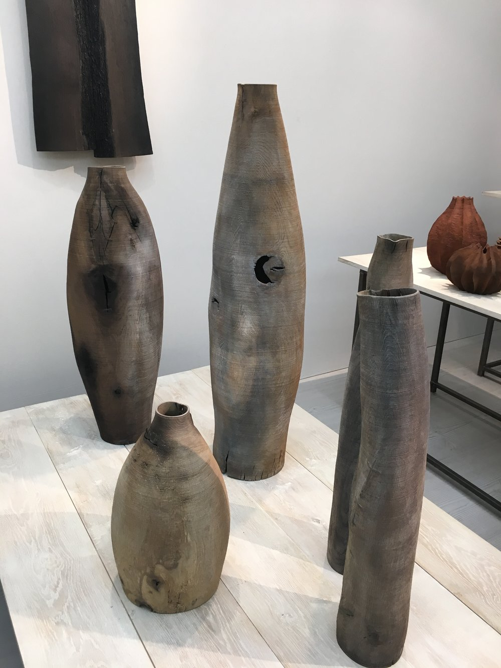 Wooden vessels at Sarah Myerscough Gallery