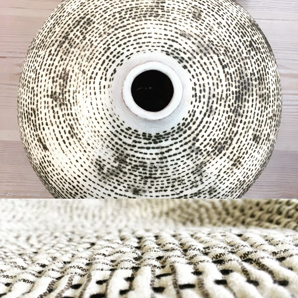 Eva Brandt ceramic jar and detail of kantha stitching on our Chindi quilt