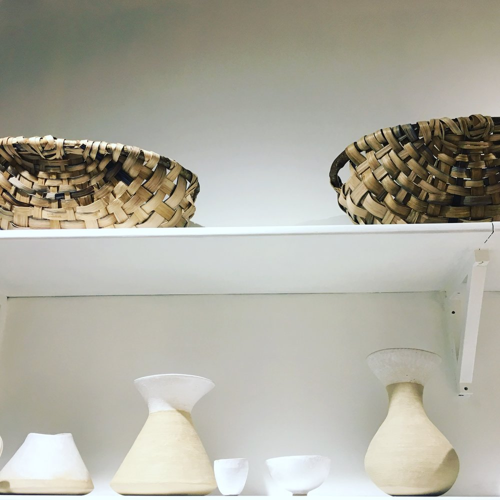 Baskets by Lorna Singleton, ceramics by Iva Polachova