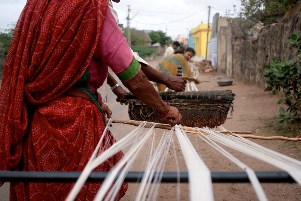 Preparing the warp. Photo: Khamir Crafts