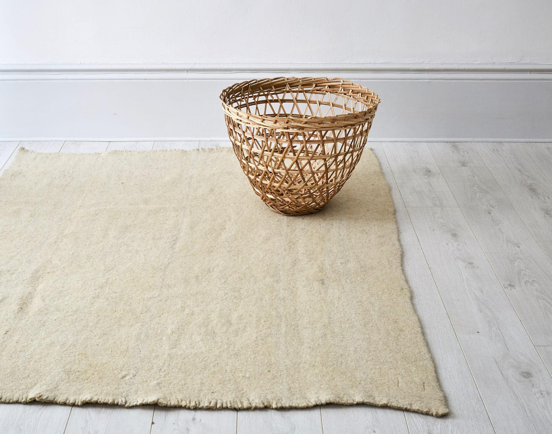 Ecru Plain Radhi Rug Stitch By Stitch Contemporary Handmade Textiles From India Nepal