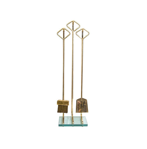 Vintage set of brass and glass fireplace tools attributed to Fontana Arte  Italy. This is a very well manufactured set of tools