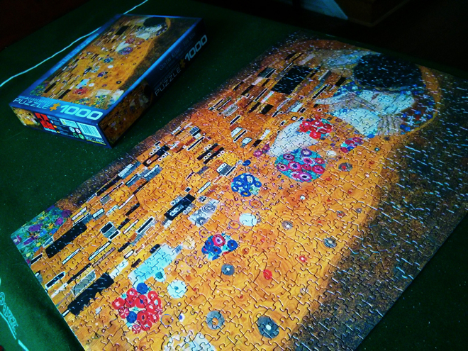 Gustav Klimt's The Kiss as a jigsaw puzzle. It was a good one!