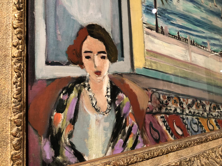 A snippet of Matisse's  Seated Woman, Back Turned to the Open Window  @ the MMFA. I love how one side of hair is a reddish brown and the other is a much darker brownish black.