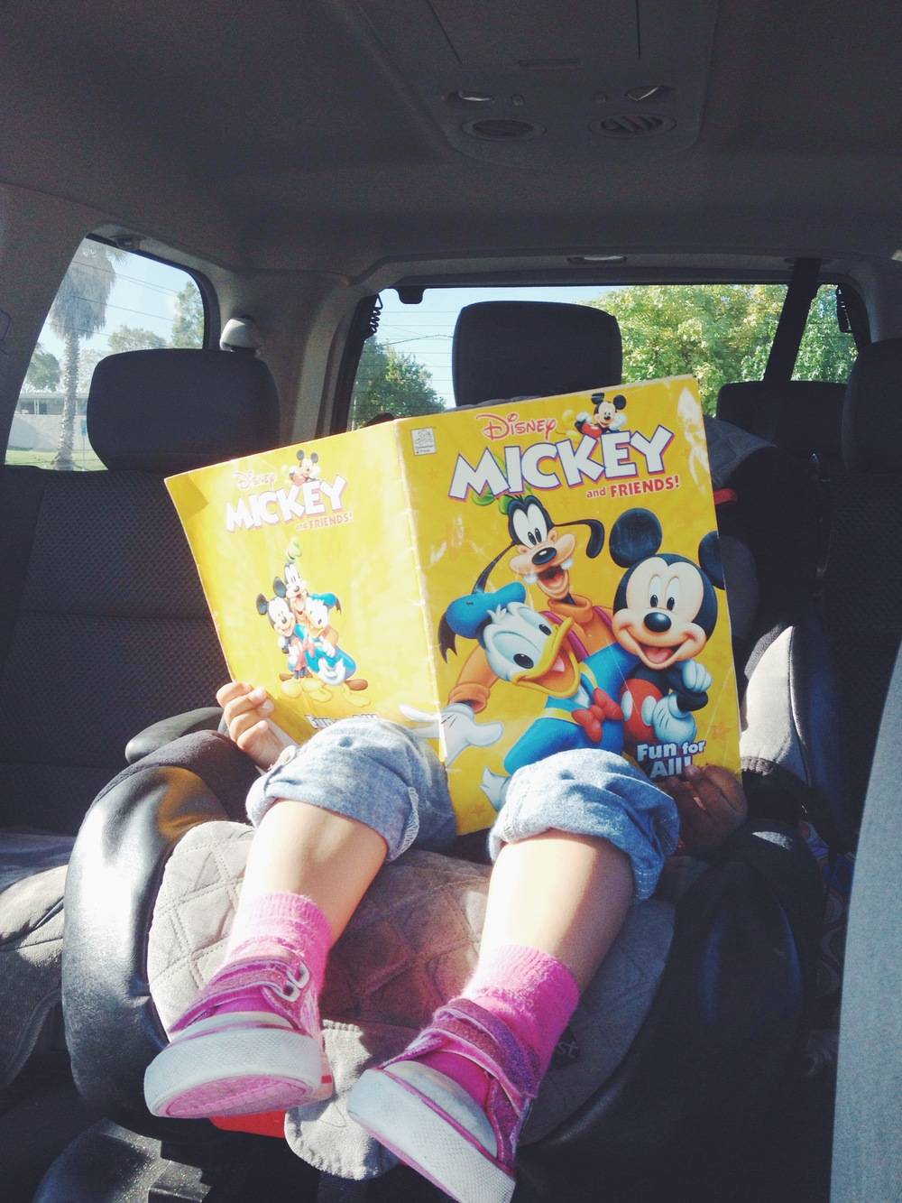 I drive. She reads.