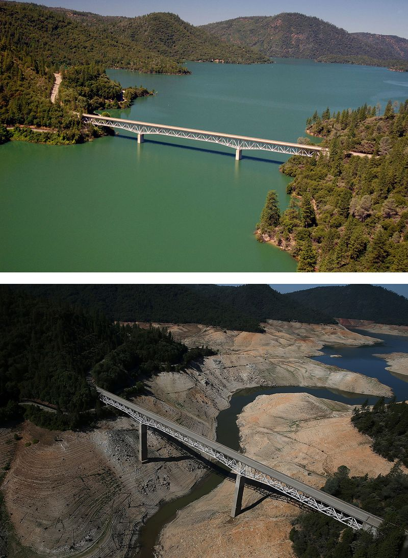 Lake oroville in northern california: top is current condition; bottom is during the worst drought conditions a few years ago