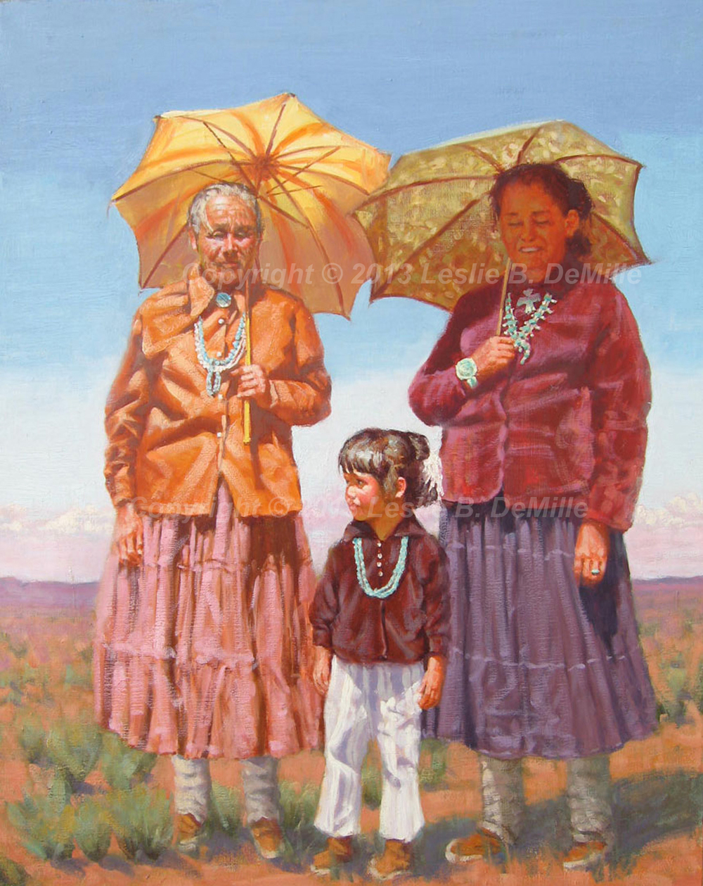 "Sun Worshipers   Original Oil. Indian Families enjoying the sun. Unframed. 30"" X 24""  $3,200"