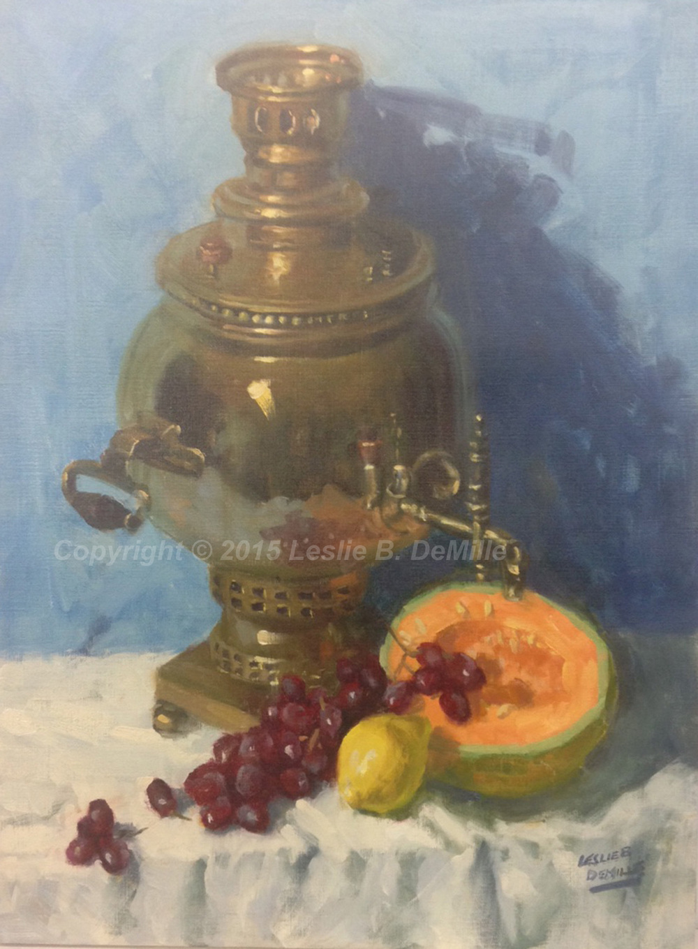 "Samovar   Original Oil. Unframed. 24"" x 18"" $2,400"