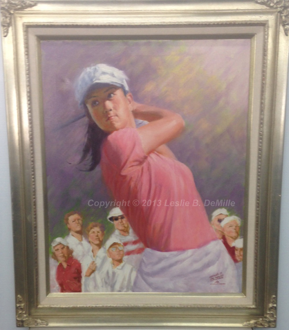 "Michelle Wie Original Oil. Framed. 30"" x 24"" $3,200"