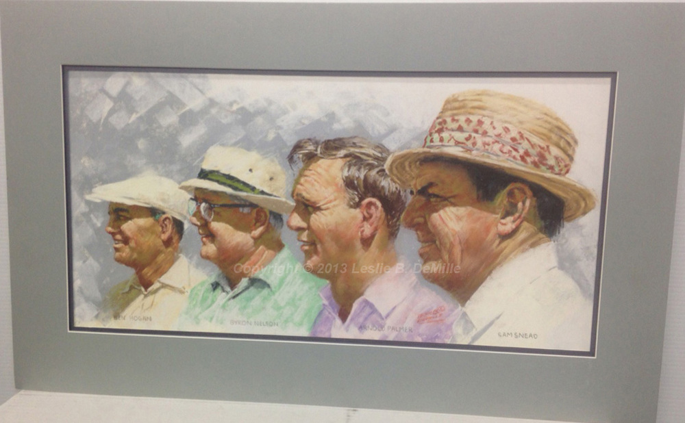 "Hogan, Nelson, Palmer, Snead Original Pastel with matte. Unframed. 12"" x 24"" $1,500"
