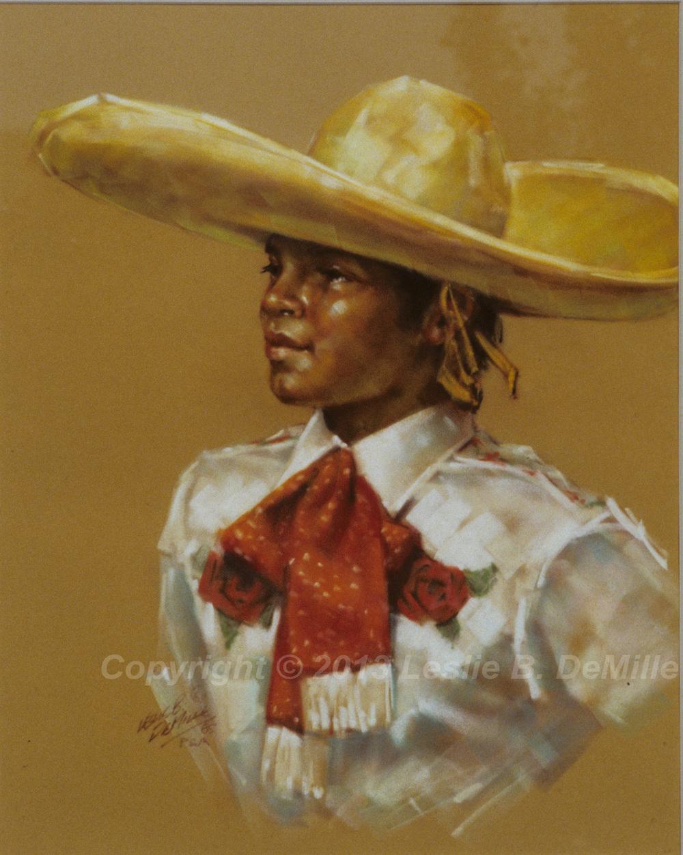Hawaiian Cowgirl 2, Pastel (11x14)