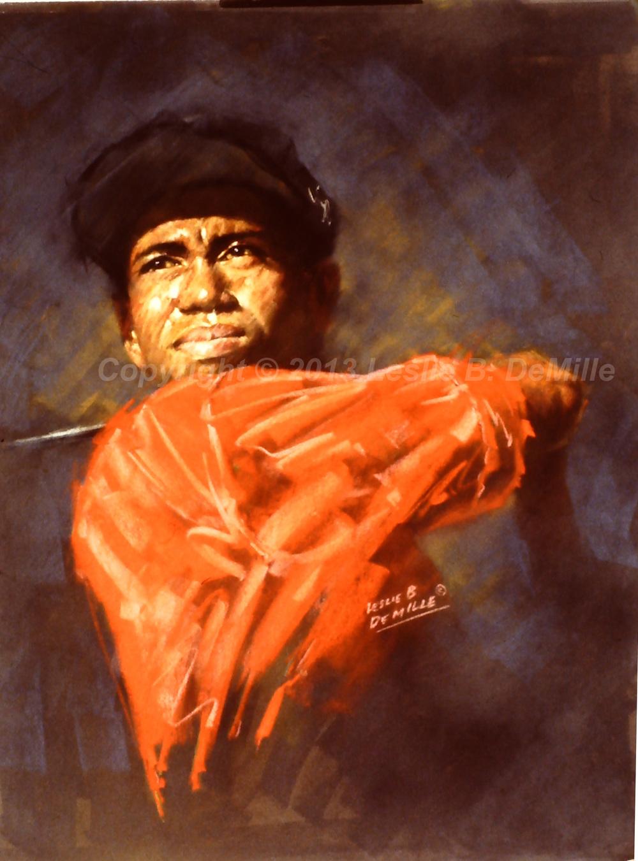 Tiger Woods, Pastel (11x14)