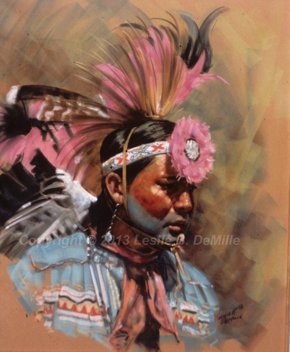 Pink Headdress, Pastel (16x20)
