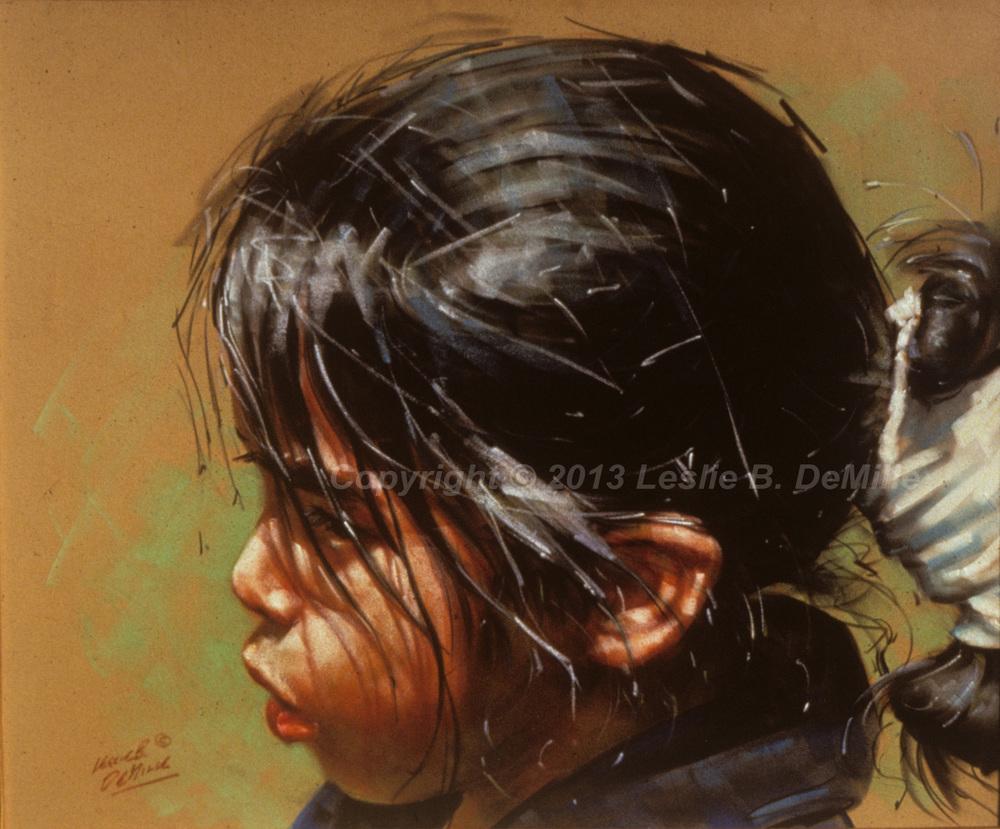 Navajo Girl, Pastel (14x11)