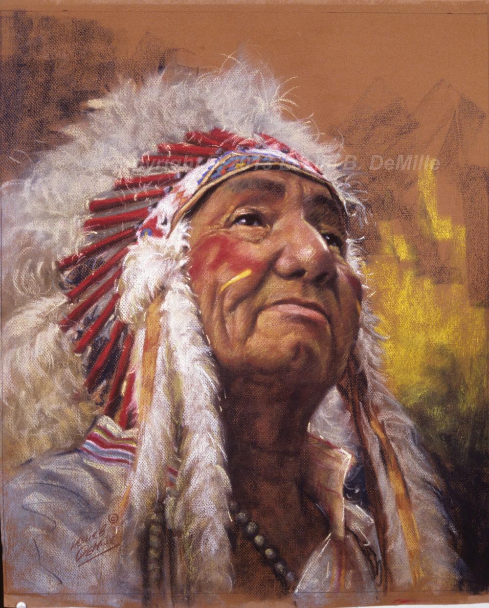 Red & White Headdress, Pastel (11x14)