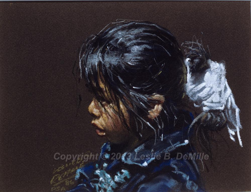 Navajo Girl in Blue, Pastel (14x11)