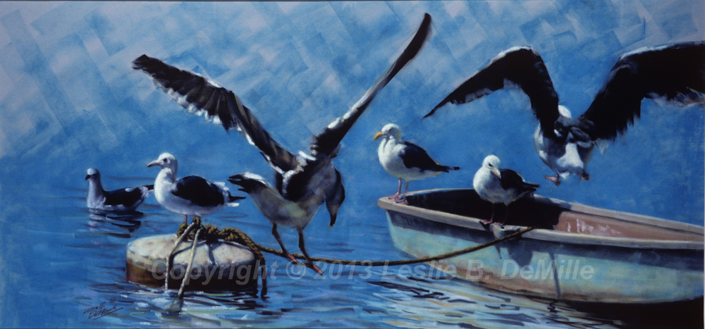 Seagulls on the Boat, Pastel 1985 (20x10)