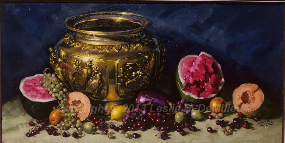 Melons & Grapes, Pastel (20x10)