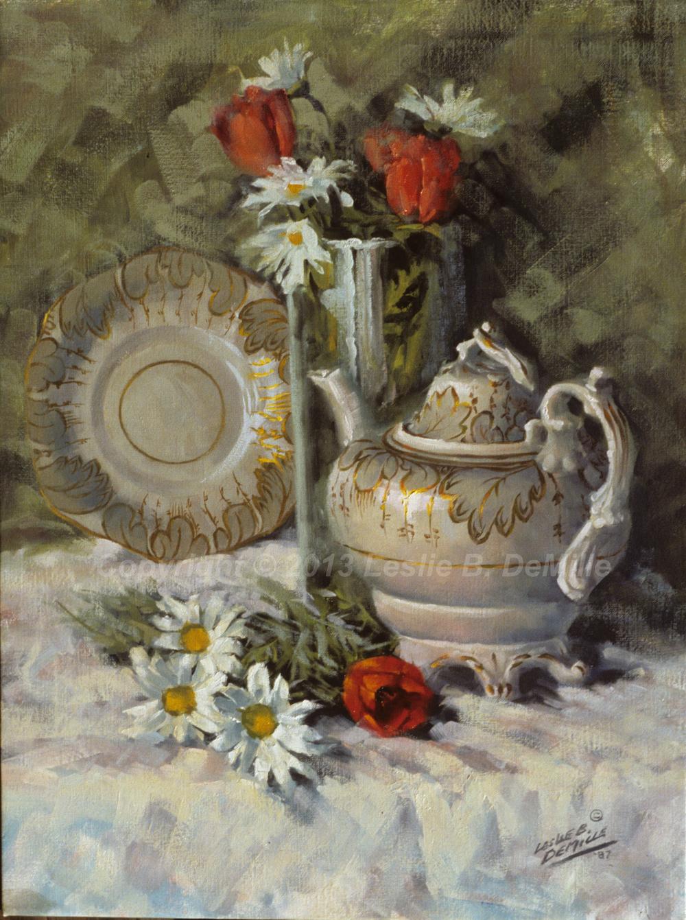 Still Life with Tea Pot, Oil 1987 (11x14)