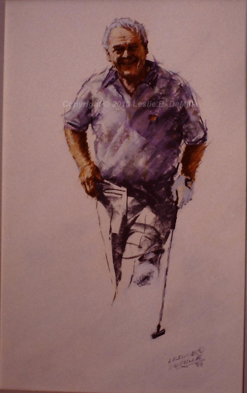 Arnold Palmer Sketch, Pastel 1991 (11x16)