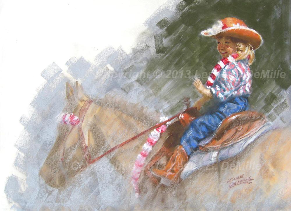 Hawaiian Cowgirl 1, Pastel (11x16)