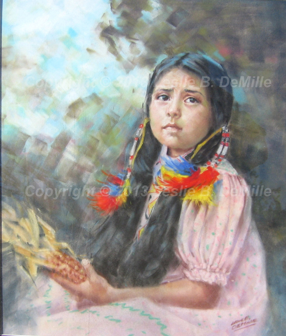 Indian Girl with Corn, Pastel (11x14)