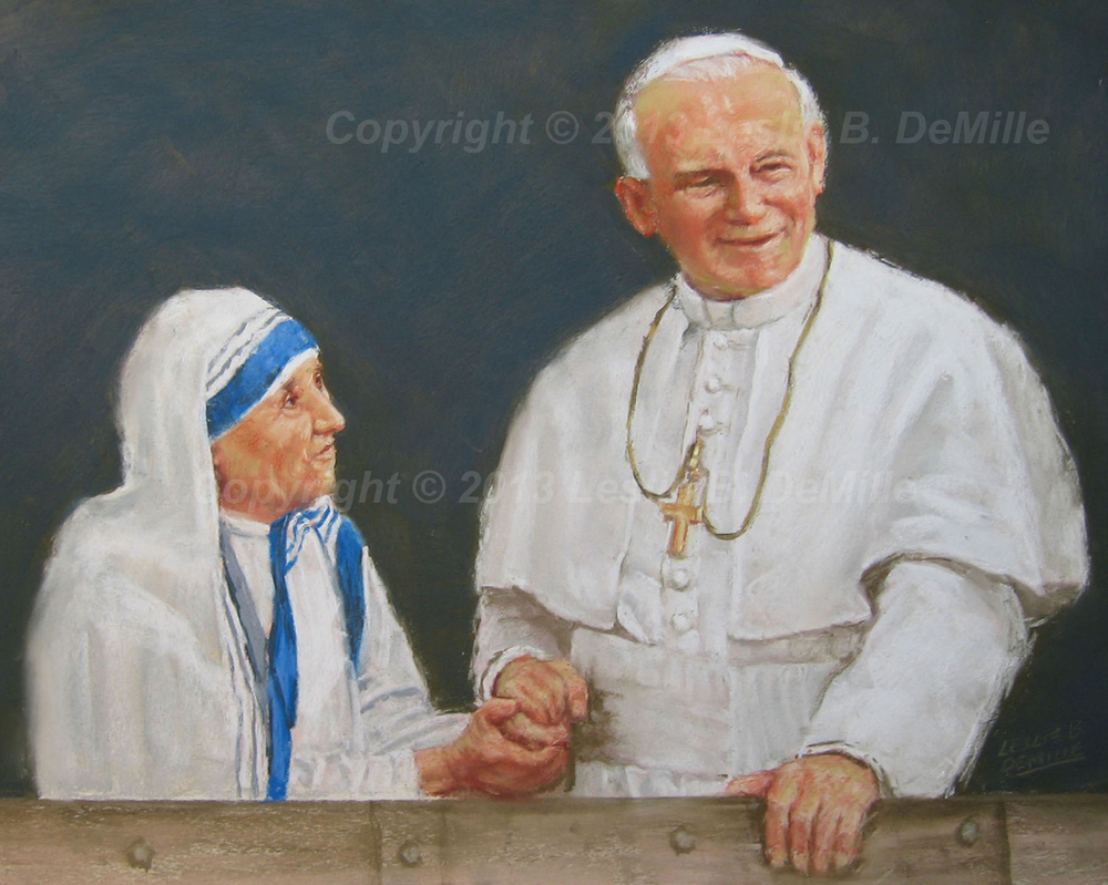 Pope & Mother Theresa, Oil (14x11)