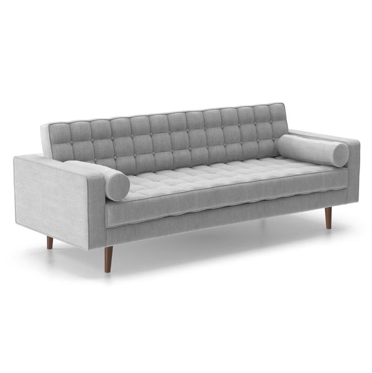 Create a moody lounge vignette with this gorgeous mid century modern grey sofa we dubbed The Monroe (after Marilyn, of course!), paired with one of our modern chairs, a coffee table and an end table for $600.