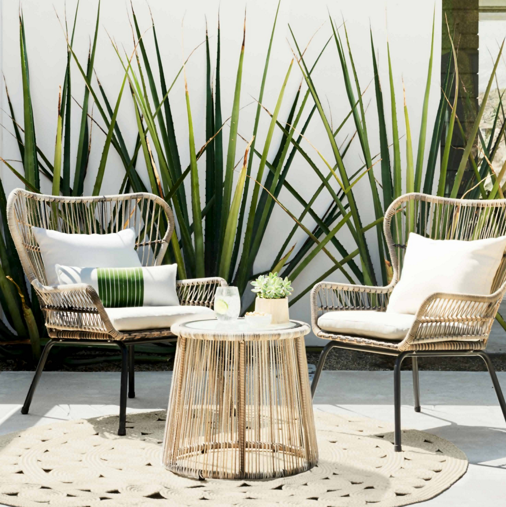 Tropical modern rattan chairs signature boutique event rentals maui hawaii