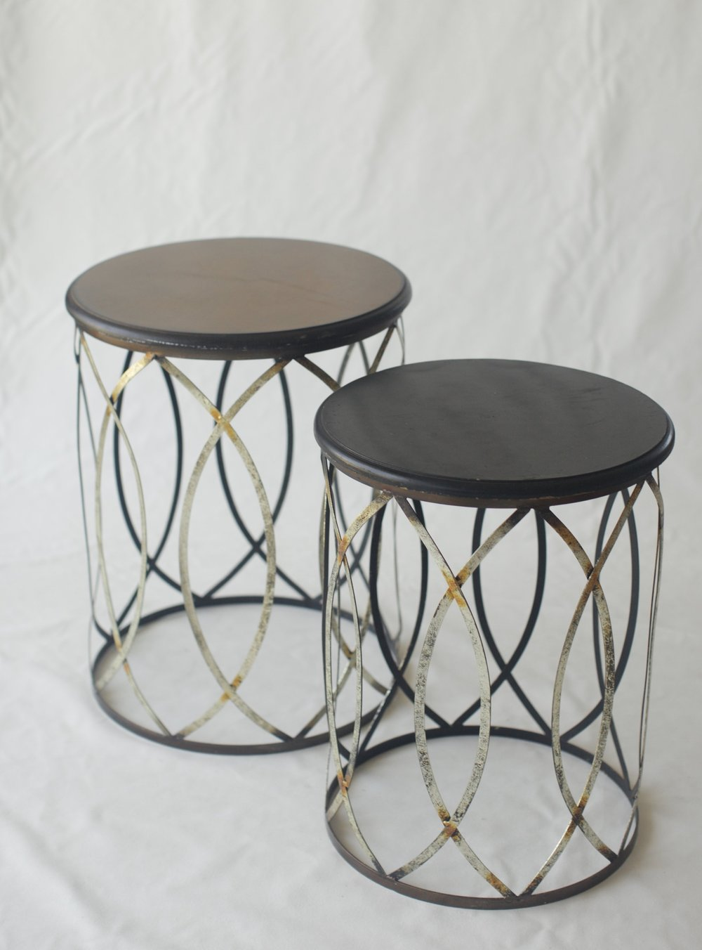 Wood and Gold End Tables Signature Boutique Event Rentals Maui Hawaii
