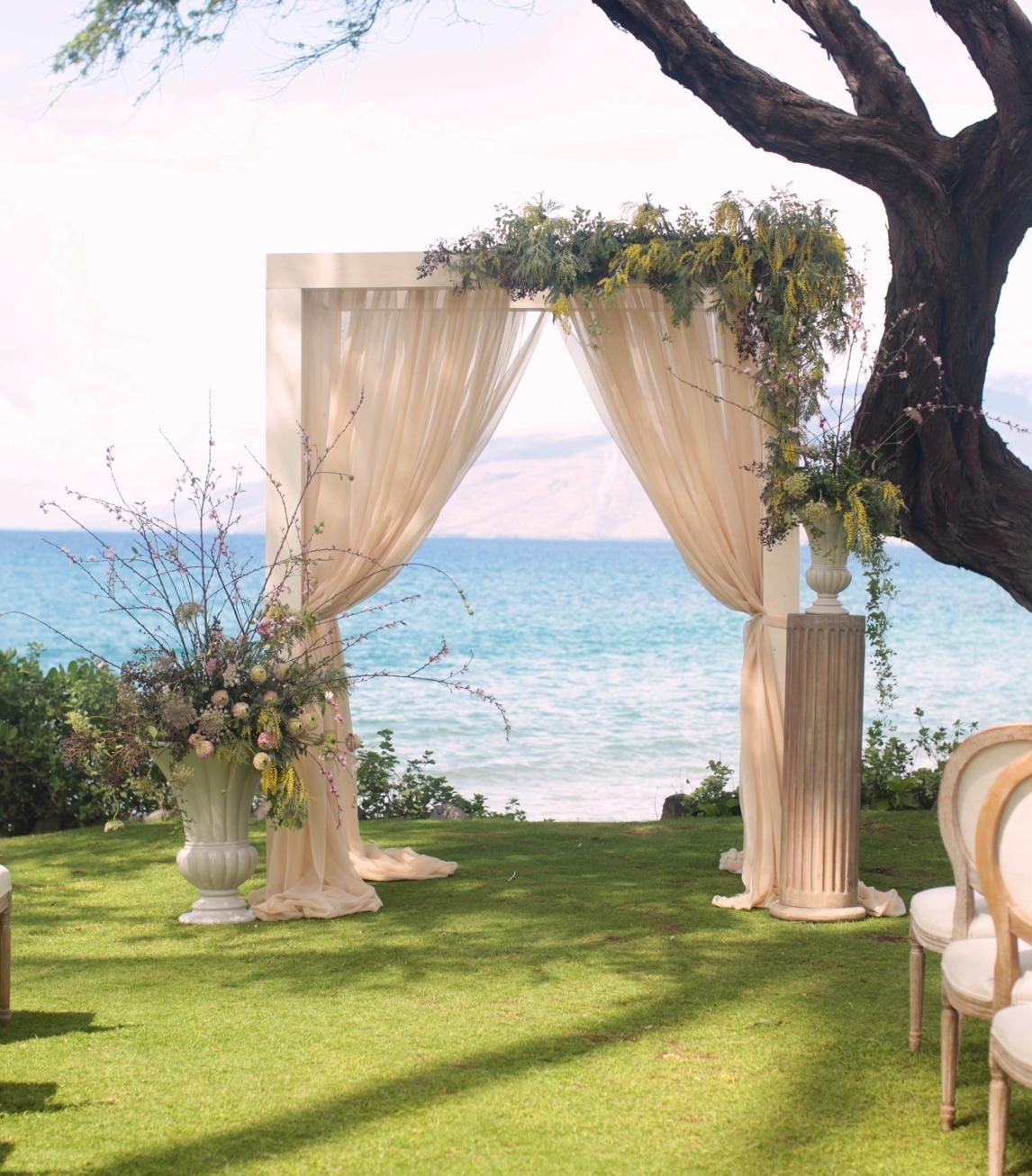 Ivory Wedding Arch — Signature Boutique Event Rentals Maui, Hawaii