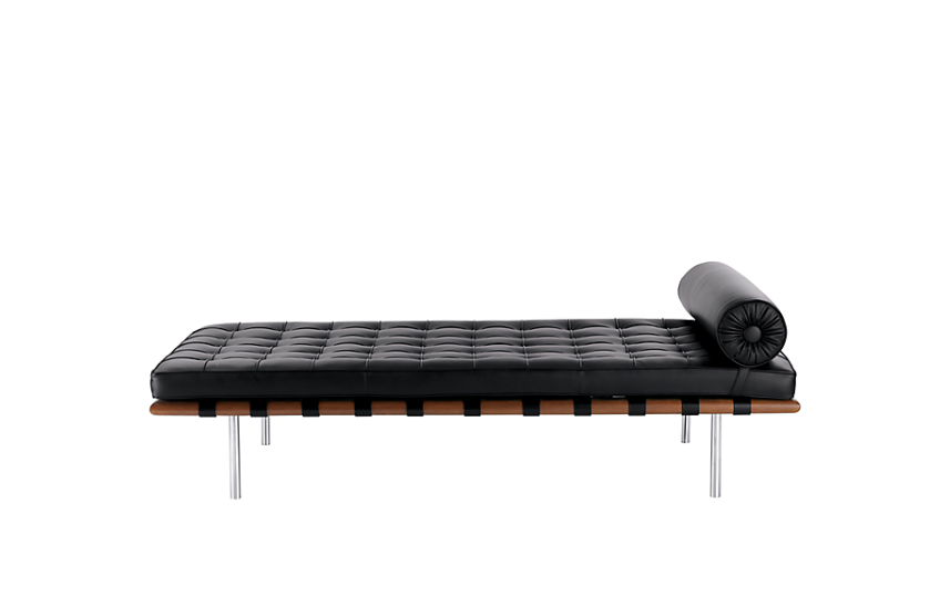 An aspirational piece, indeed, Ludwig Mies van der Rohe's Barcelona Couch (1930) was added to his Barcelona Collection in the year following the introduction of the Chair and Stool. Still produced to his original specifications, the couch gained widespread popularity in 1953, when architect Philip Johnson selected it for his New York apartment. The cushions – welting and buttons included – come from a single Spinneybeck Volo cowhide and are supported by cowhide belting straps. To create the deep, precise tufting, individual panels of leather are cut, hand-welted and hand-tufted. The frame is made from African mahogany sapele hardwood, with stainless steel legs. The bolster cushion is crafted from coordinating leather and secured to the couch with straps and locking snaps. The Barcelona Couch is a registered trademark of Knoll, Inc., manufactured by Knoll according to the original and exacting specifications of the designer. Made in U.S.A. Article via  Design Within Reach .
