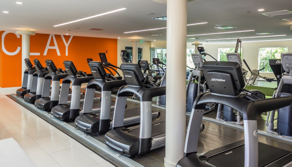 Time to exercise? Distractions welcomed. Each cardio machine has a private cable feed for on-board entertainment.