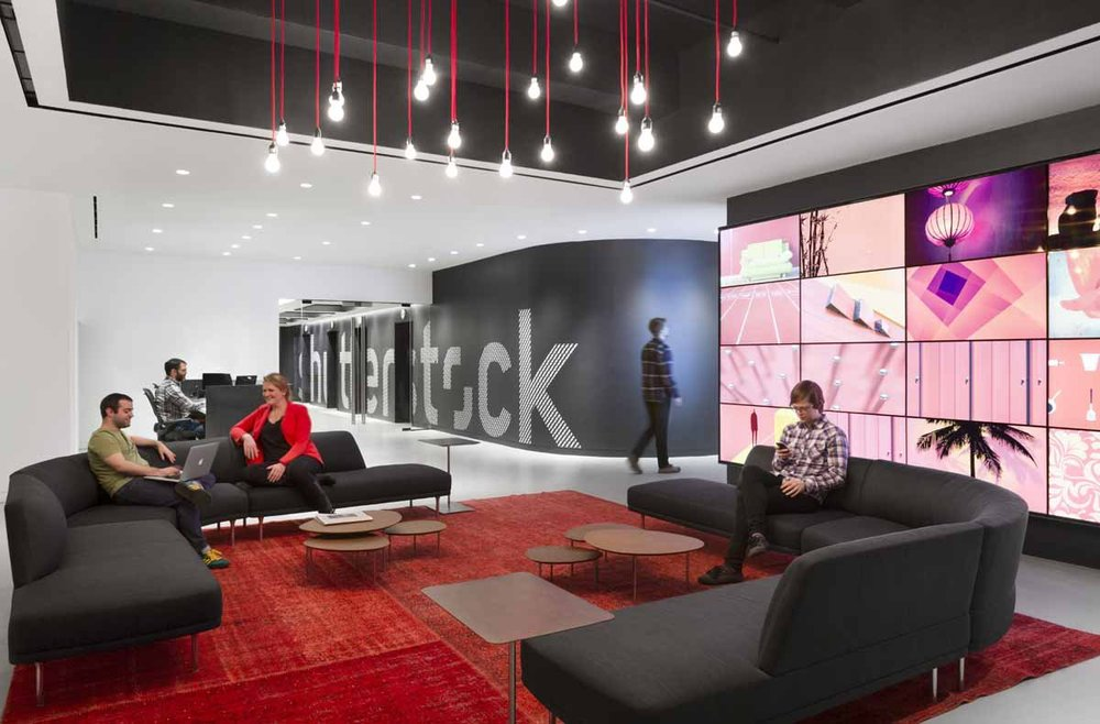The video wall is meant to showcase the millions of images Shutterstock has for sale, in real time.