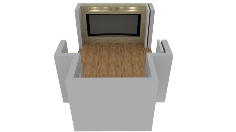 ASC models projection rooms in 3D to ensure the projection and sight lines are suitable for the space.