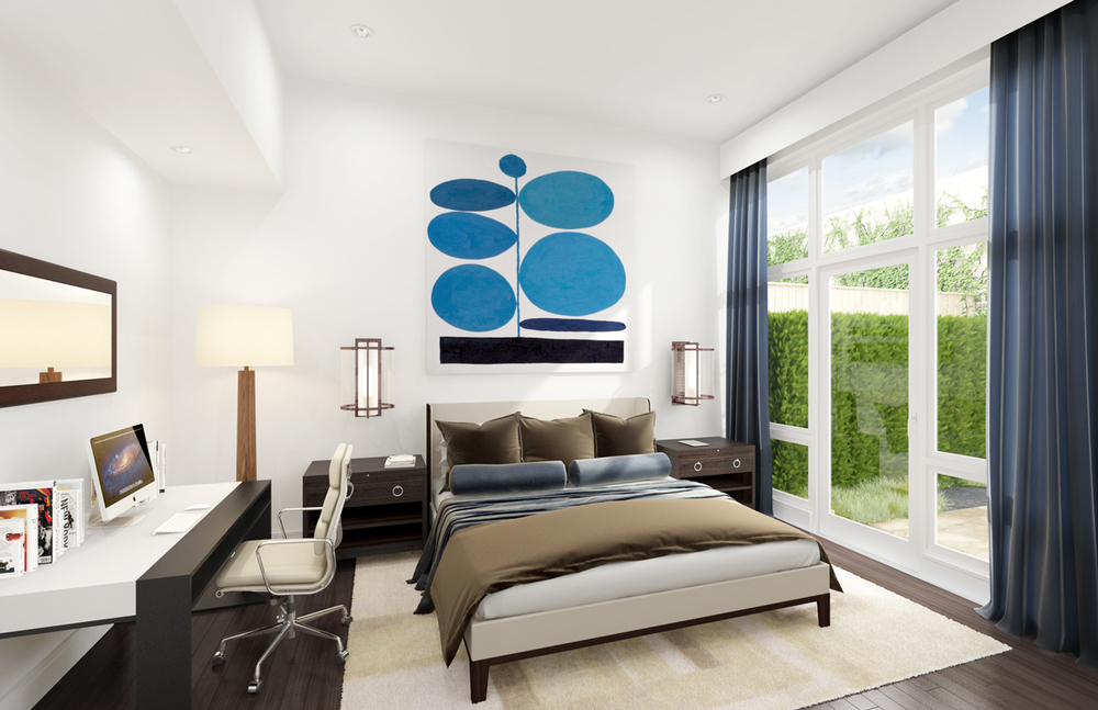Bedrooms are equipped with speakers and internet protocol television (IPTV) wiring. This is a step above traditional terrestrial, satallite signals and cable television formats.
