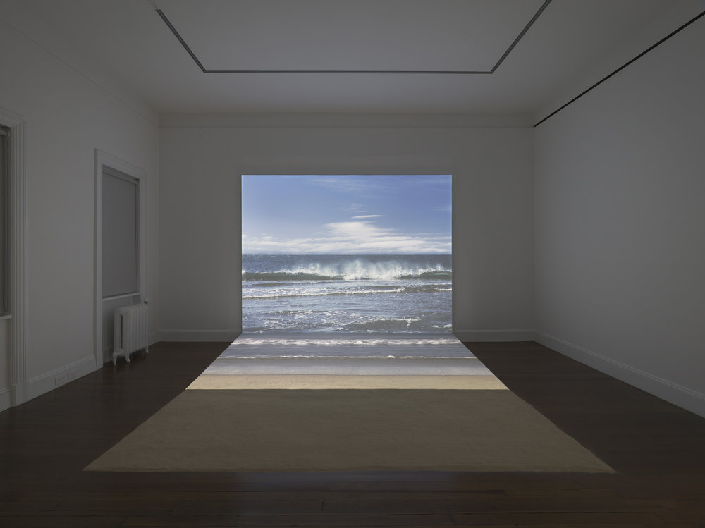 Bord de mer, 2009. This installation consists of two HD projectors playing back video and still images. Agnes Varda, Installation view, 2017 Blum & Poe, New York Photo: Genevieve Hanson Courtesy of the artist and Blum & Poe, Los Angeles/New York/Tokyo