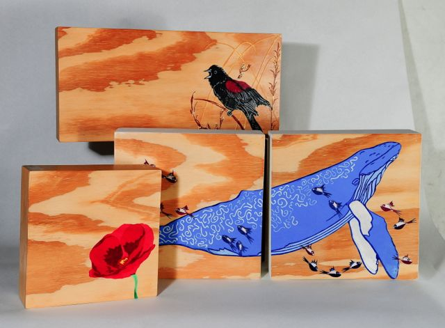 Selected woodcut works on handmade boxes.