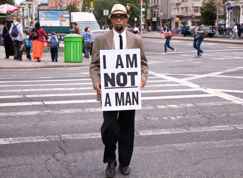 My former Goddard advisor, Dread Scott's  I am not a man  performance stills