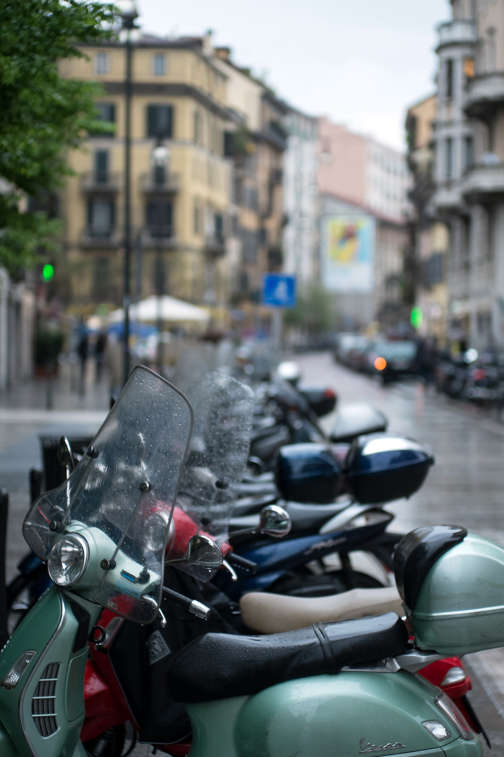 Vespas line the streets of the trendy Brera neighborhood.