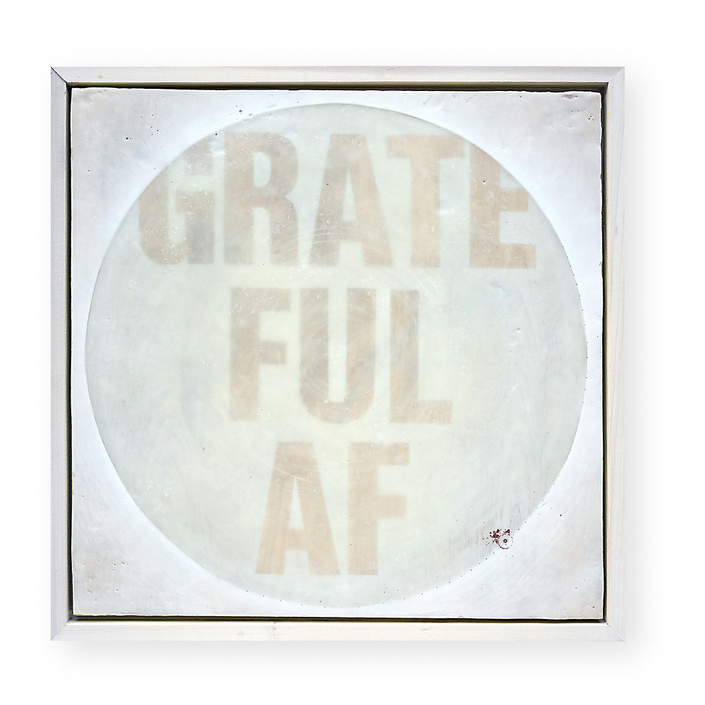 Grateful AF    OIL, WAX + COPPER LEAF ON PANEL  24 X 24 X 1.5 IN